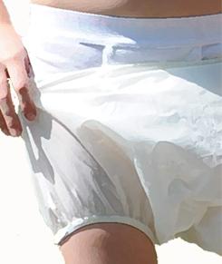 Boys in plastic pants